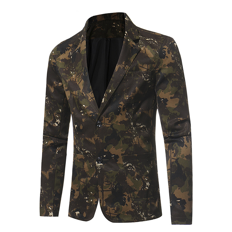 Dropshipping High-grade Jacket Camouflage Series Men's Casual Slim Long Sleeves Suit Fashion Casual Blazers Button Top Coat