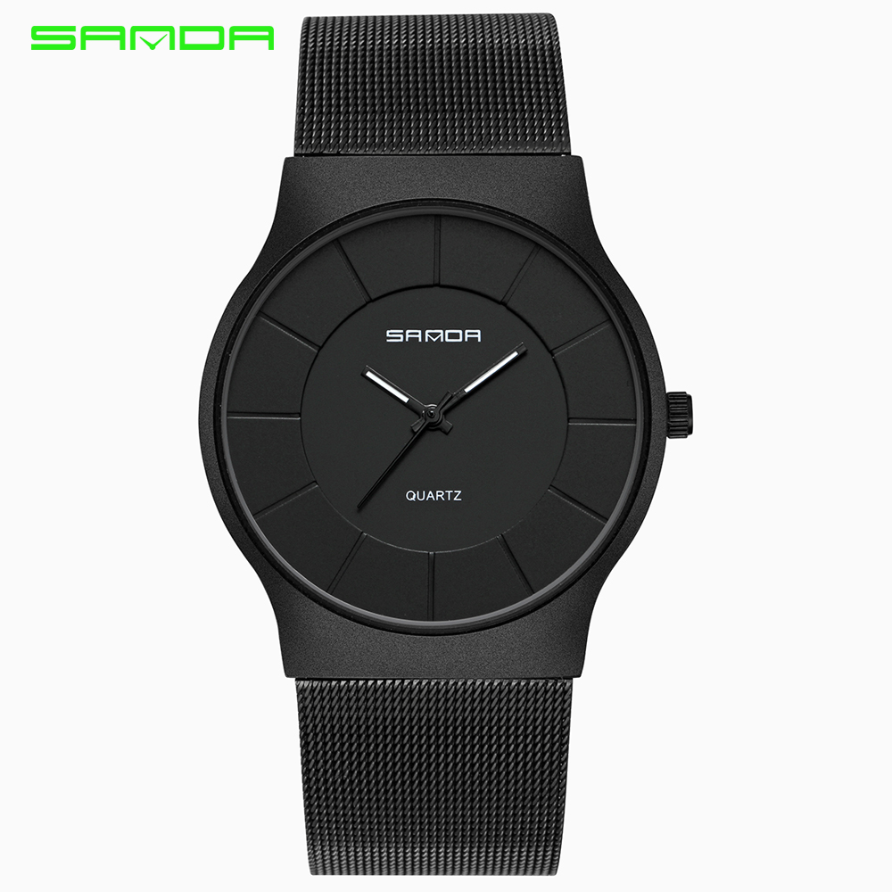SANDA Luxury Brand Men Watch Ultra Thin Stainless Steel Clock Male Quartz Sport Watch Men Waterproof Casual Wristwatch relogio luxury brand watches men quartz clock wach ultra thin stainless steel mesh strap gold wristwatch box waterproof sport watch men