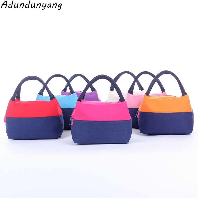 2018 Food Picnic Lunch Boxes Portable Insulated Canvas Lunch Bag Flamingo Print Lunch Bags Tote for Women Cooler Bag