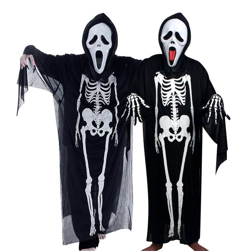 2019 Halloween Scary Costumes for Women Adult Child Skeleton Ghost Clothes Mask Gloves Set Scream Dress Holiday Party One Size