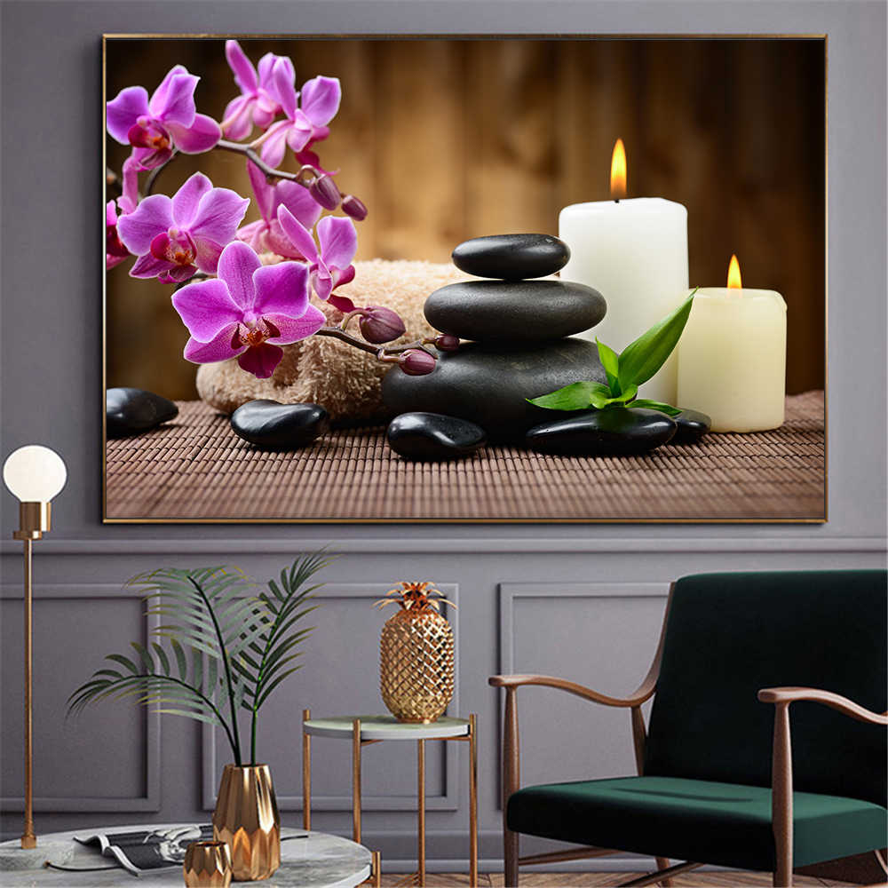 Wall Art Print Spa Stones Zen Painting Candles Orchid Flower Poster Wall Picture For Bathroom Kitchen Modern Decoration