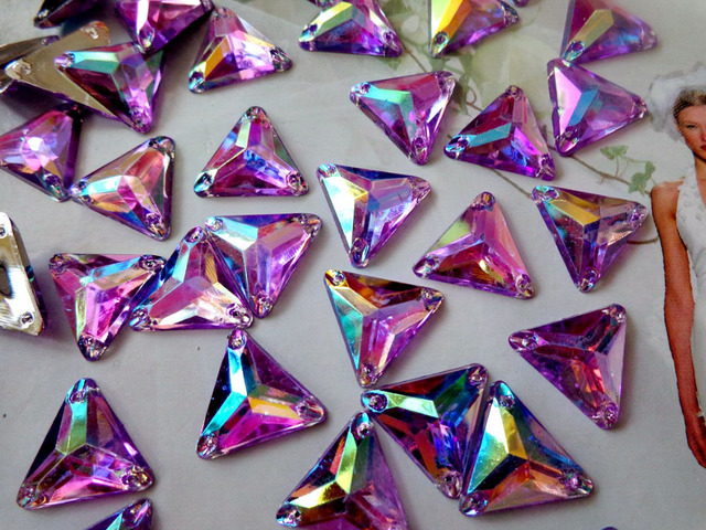 100pcs triangle shape 14mm gem stones sew on crystals light purple  rhinestones flatback dress accessory 19c106b2a477