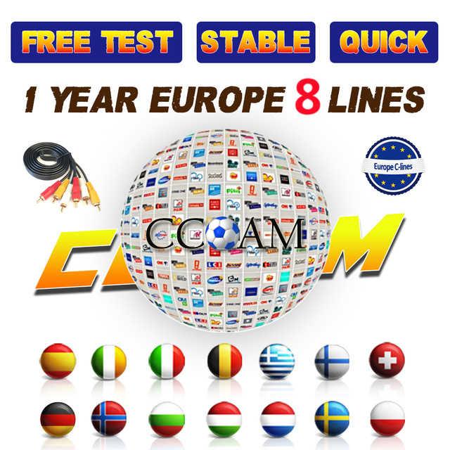 8 линий Европы 1 год Cccams для спутникового ресивера DVB-S2 HD полный декодер совместим с испанско-португальский Италия Cline Ccam сервер
