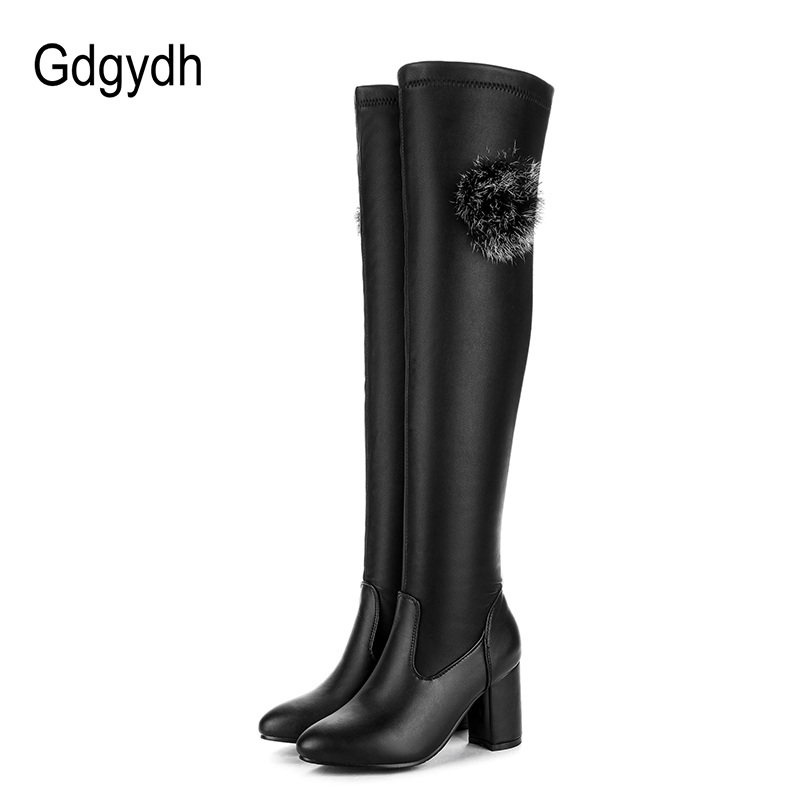 Gdgydh Women Leather Shoes Over The Knee Boots Black Winter Slip On for Women Thick High Heels Autumn Shoes Thigh High Boots fashion snake printed thigh high boots med heels slip on over the knee boots autumn winter party banquet prom shoes woman