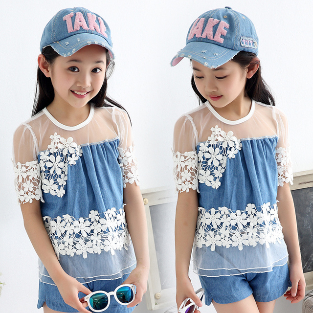 High Quality!2016 New Summer Style Girls Denim Shorts and Short-sleeved Two Pieces Suit Big Children 100% Cotton Lace Suit