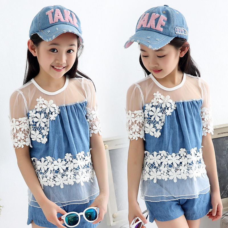 High Quality!2017 New Summer Style Girls Denim Shorts and Short-sleeved Two Pieces Suit Big Children 100% Cotton Lace Suit