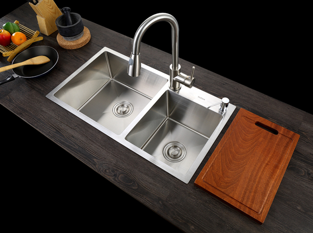 C Sus304 Stainless Steel Kitchen Sink Vessel Set With Faucet Double Washing Vanity