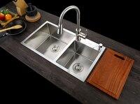 SUS304 нержавеющая сталь кухонная раковина судно набор с краном двойная раковина кухня раковина мойка Vanity