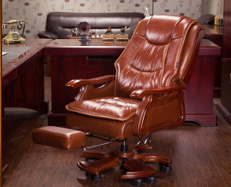 Boss Chair Real Leather Mage Can Lie Double Seat Cushion Computer Home Body High Back Office 023