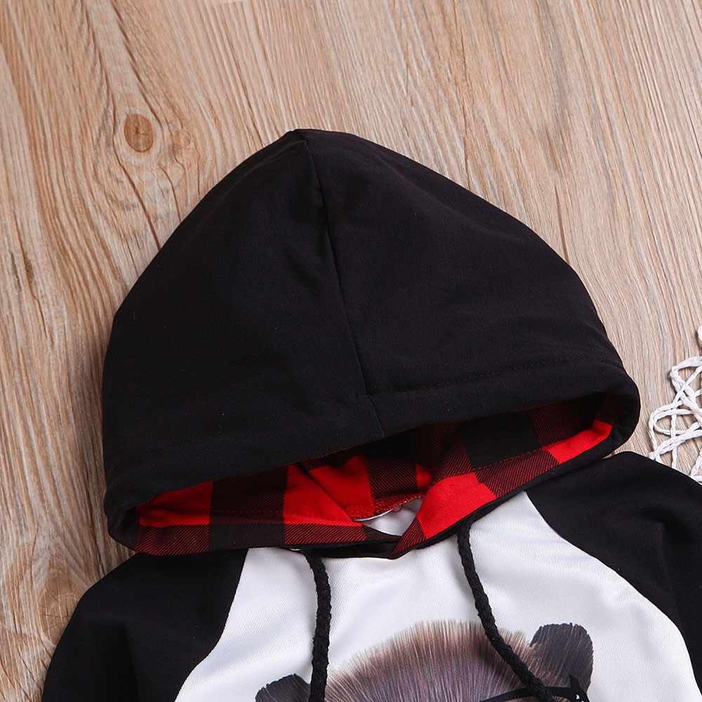 2019 комплекты одежды для малышей осенняя одежда для маленьких мальчиков Детский клетчатый топ с капюшоном и мышкой + длинные штаны комплект из 2 предметов