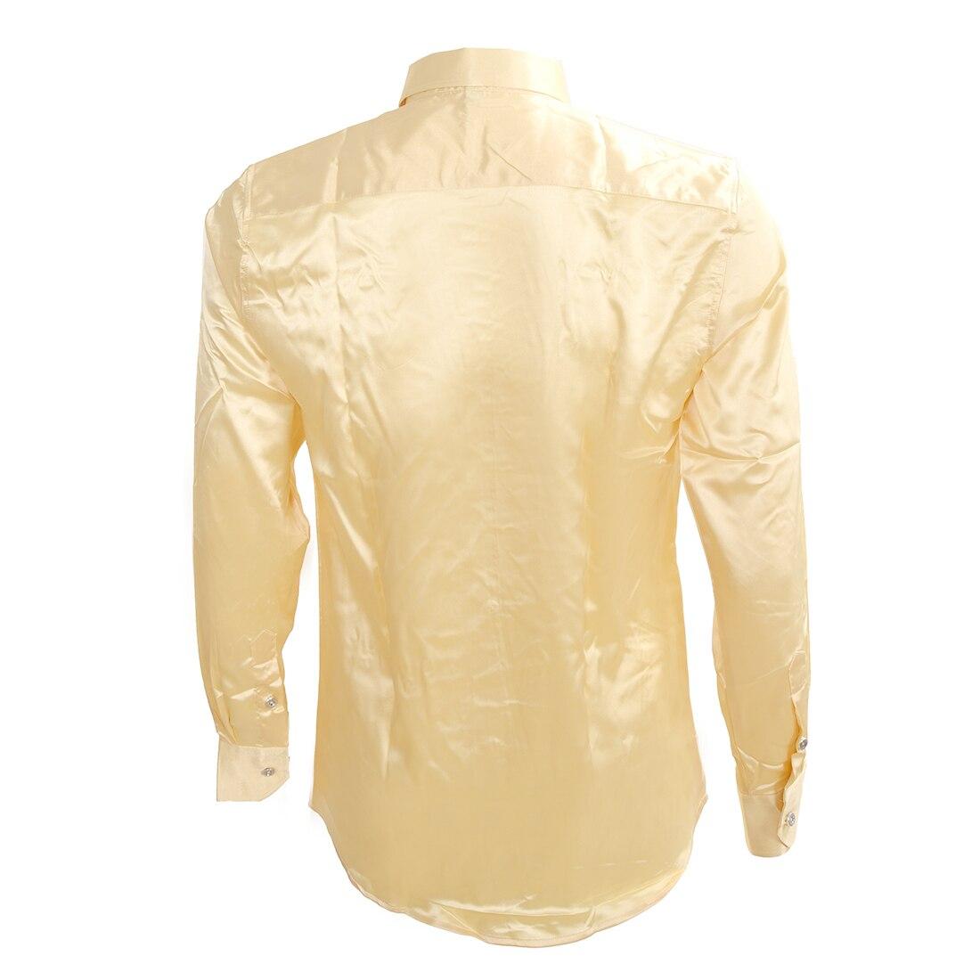Досуг мужская Одежда высококачественная Эмуляция Шелковые Рубашки С Длинным Рукавом мужская Повседневная Рубашка Блестящий Сатин Бежевый