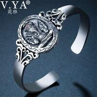 V.YA 925 Sterling Silver Elephant Bangle Bracelet for Women Men Retro Indian Ganesha God Bangles Luxury Jewelry Accessories