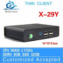 2.0GHz industrial pc thin client mini pcs with dual core X-29y 8GB RAM 32GB SSD support Windows 7 etc.