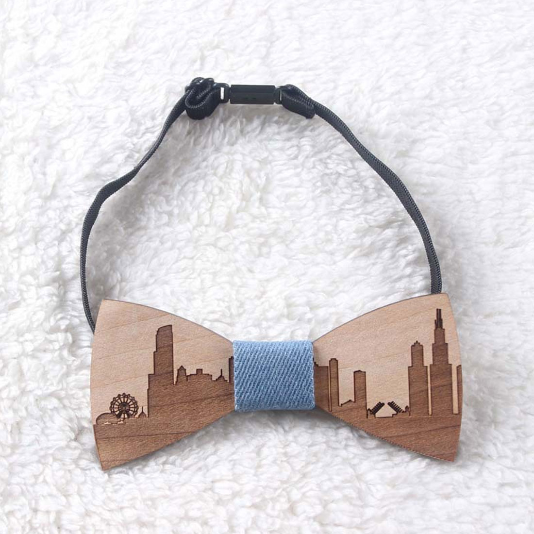 Wedding Bow Tie Wooden Butterfly City Skyline For Men/'s Suit Shirt Necktie