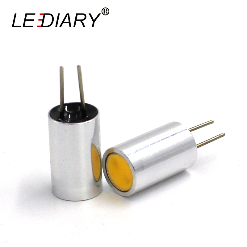 LEDIARY 5PCS/Lot Super Bright LED G4 Bulb/Light/Lamp DC12V/AC DC12V Dimmable Mini Stainless Housing With COB LED Cute Shape 5 1w led bulb with ceramic housing