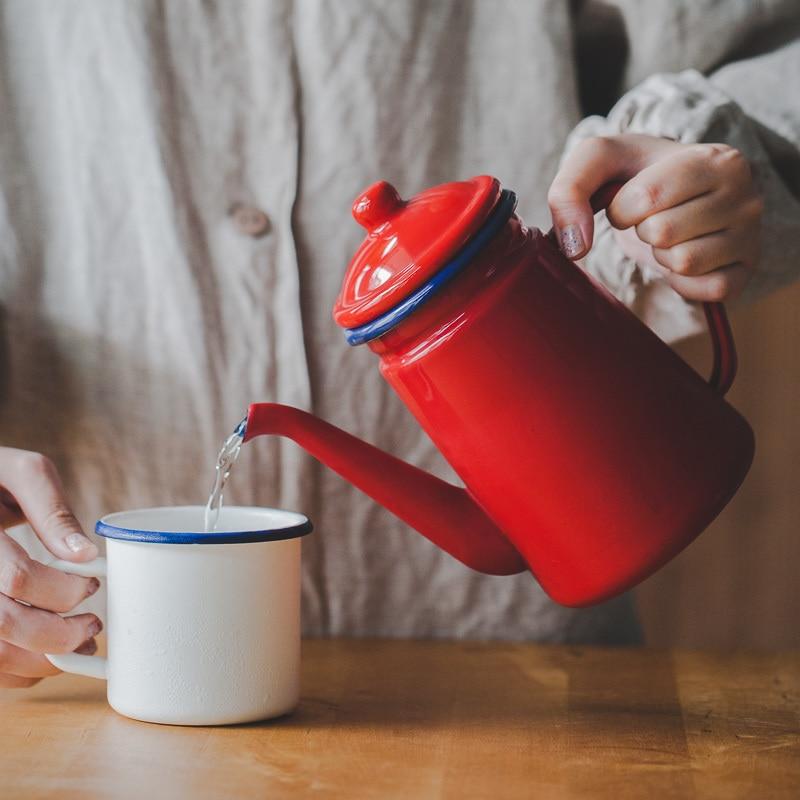 Émail épaissi eau bouilloire thé cafetière chinois médecine pot électromagnétique four gaz tisanes théière émail céramique