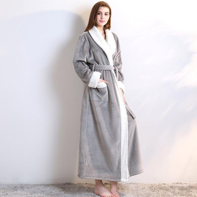 2b35335a2f Double deck Women 2018 Winter New Extra Long Thicken Bath Robe Sexy Flannel  Peignoir Robes Soft Dressing Gown Bathrobe Warm