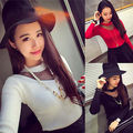 Korean Style Womoens Mesh Sheer Summer Long Sleeve Blouse Slim Knitwear Tops