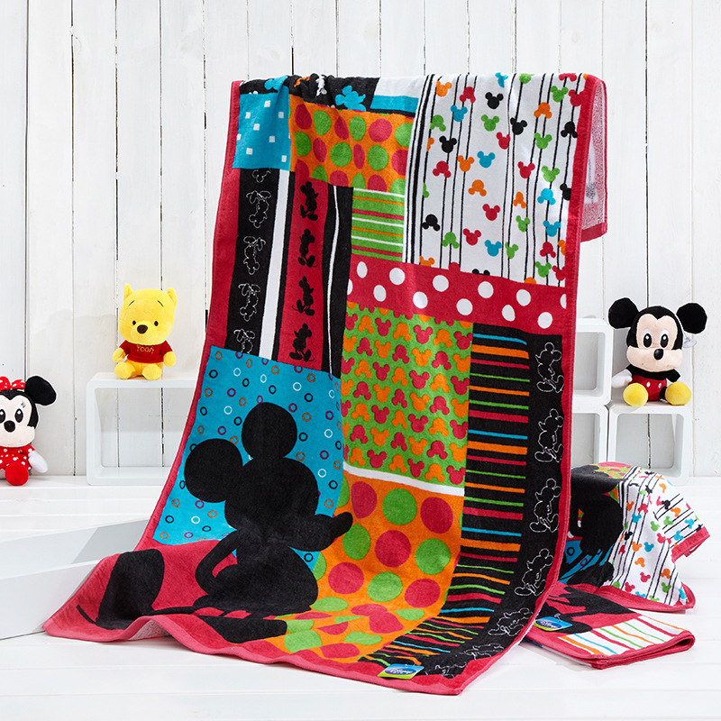 Disney Cartoon Towels 140*70 76*34 Cm Authorized Merchandise Mickey Series Colorful Bath Towel Towel Square New Fashion Style