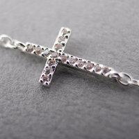 Rhinestone Sideway Cross  Bracelet -- Gold /Silver  2 colors Free combination