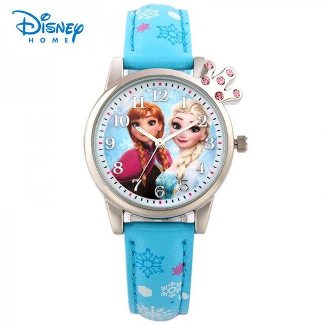 100% Genuine Disney Crown Design Frozen Princess Smart Girl Cartoon Kid Watch Printting Leather Quartz Children Wristwatch