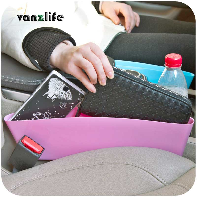 vanzlife car compressible storage box between seat and control table for trash, files, cell phone, glasses, bills ...