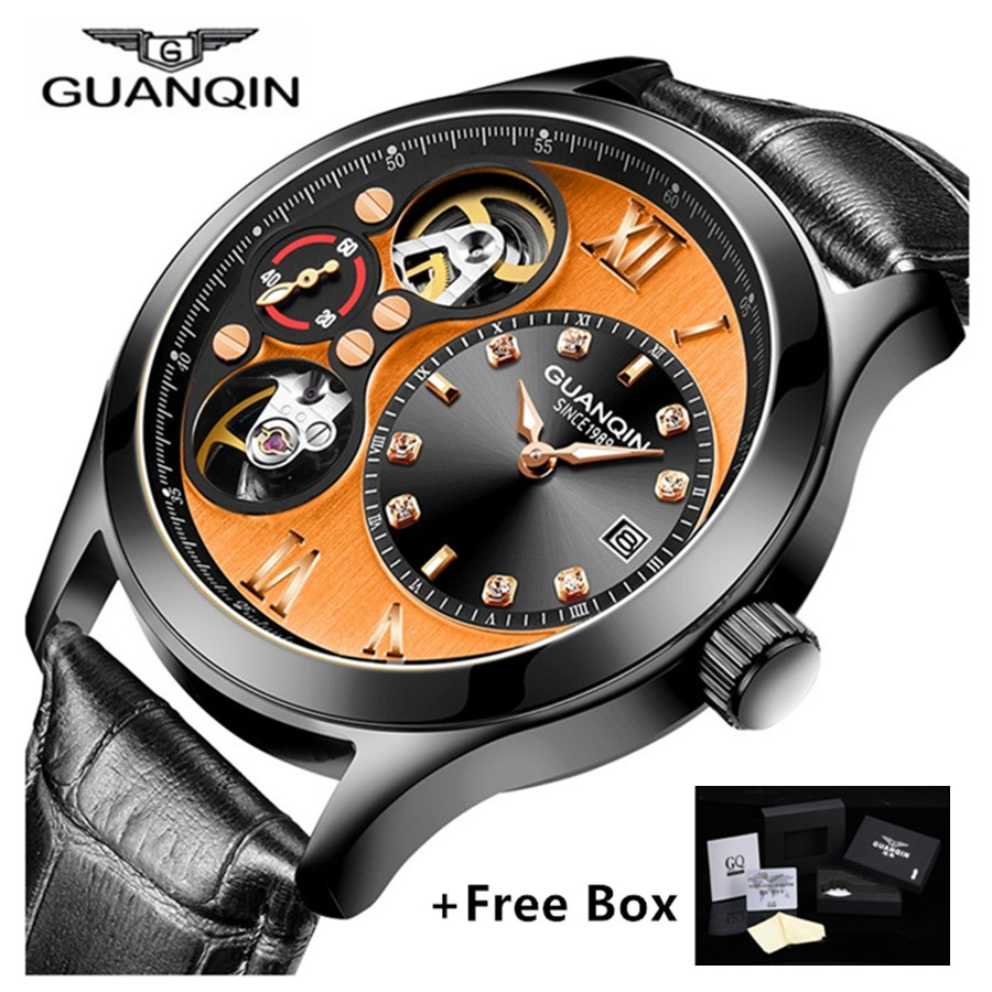 GUANQIN Watch Men Luxury Automatic Mechanical Watches with Date Tourbillon Small Second Dial Luminous Watches relogio masculino цена 2017
