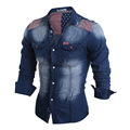 2016 Brand New Spring Fashion Mens Long Sleeve Jeans Shirt Casual Slim Fit Denim Men Shirts Union Jack Camisa Masculina 13M0528