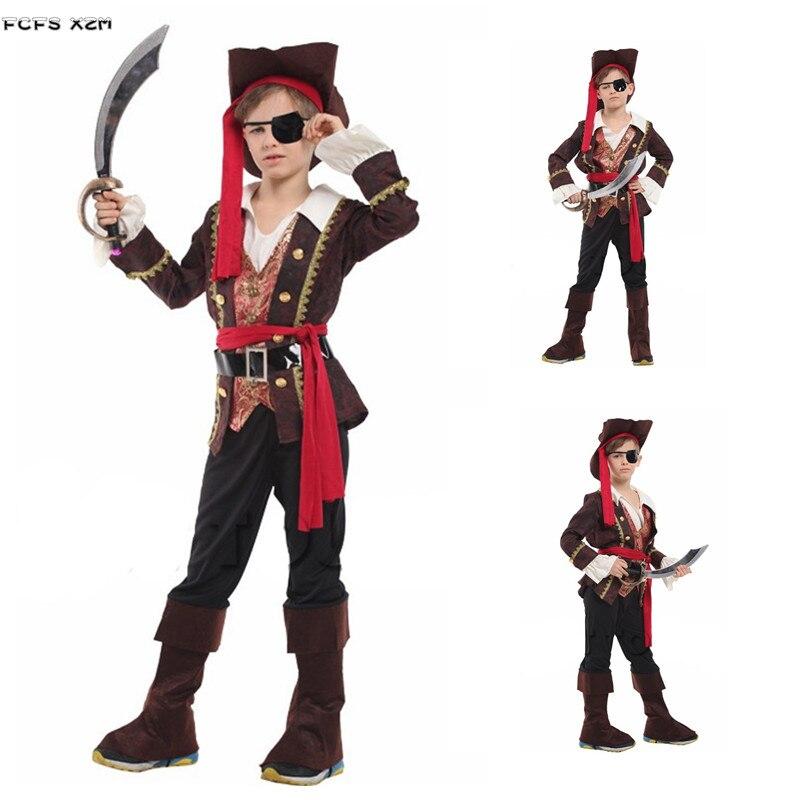 M-XL Boys Halloween One-eye Pirates Costumes Kids Children Robber Pirates Seaman Cosplays Carnival Purim Masquerade party dress