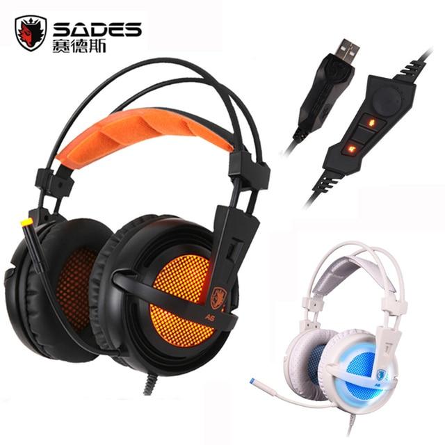A6 usb sades 7.1 surround de sonido usb stereo gaming auriculares sobre la Oreja los Auriculares Con Aislamiento de Ruido de Respiración Luces LED para PC Gamer