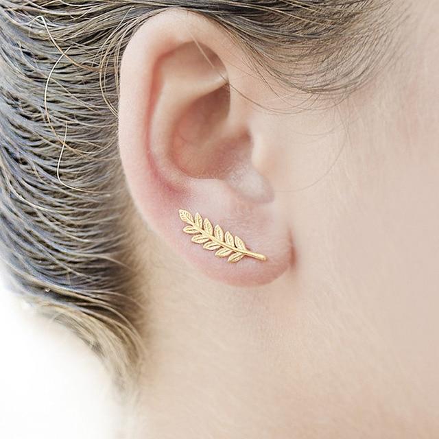 Mestilo New Vintage Gold Sliver Black Plate Leaf Stud Earrings For Women Fashion Bohemian Small Ear