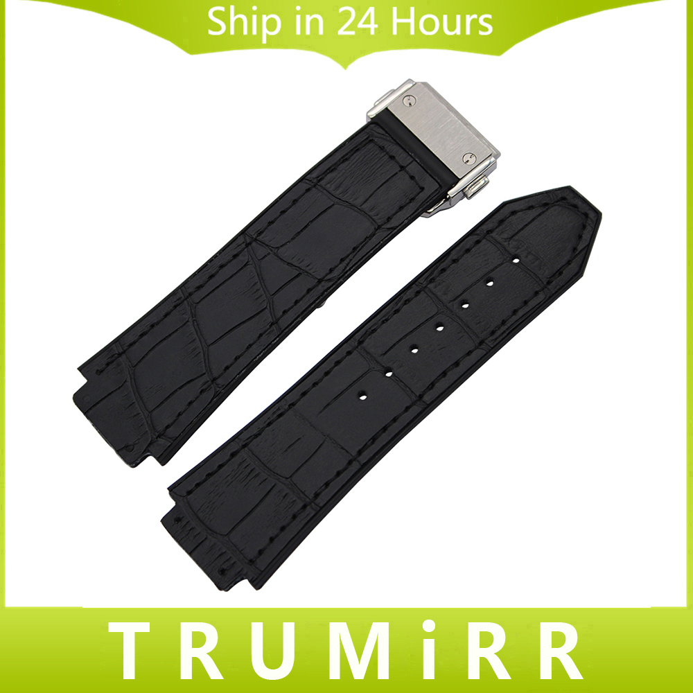 Genuine Leather + Silicone Rubber Watchband 26mm x 19mm for HUB Watch Band Steel Butterfly Buckle Strap Wrist Bracelet Black buff sport series water 2 gloves