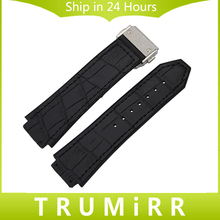 Genuine Leather + Silicone Rubber Watchband 26mm x 19mm for HUB Watch Band Steel Butterfly Buckle Strap Wrist Bracelet Black