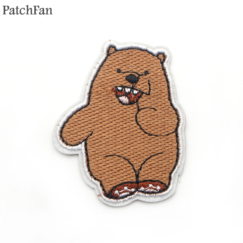 20pcs/lot A0286 Patchfan The Three Bare Bears Cartoon Embroidered Patches DIY Iron on Accessories New Arrival Popular Patchwork