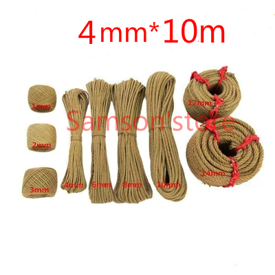4mm*10m Natural Jute String Hemp Twine Rope Gift Packing Hang Tag Cord For Handmade Accessory DIY Decoration