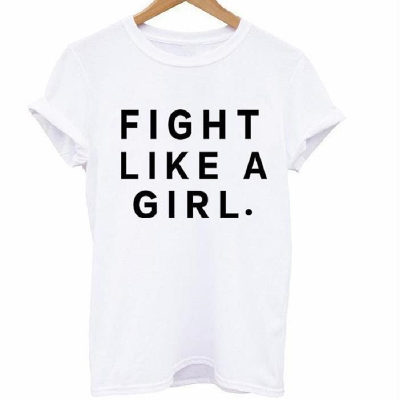 Fight Like A Girl Letter Print T Shirt Women Short Sleeve O Neck Loose Tshirt 2020 Summer Women Tee Shirt Tops Camisetas Mujer