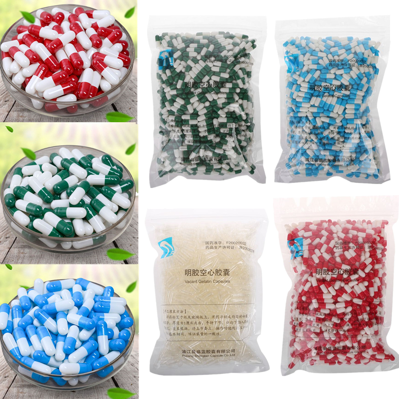 1000Pcs Empty Hard Gelatin Capsule MedicineCapsule 0#Red And White Empty Pill