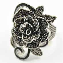 Brand National Wind Restoring Ancient Design Women Jewellery Antique Silver Creative Black Vintage Rose Flower Rings for Women