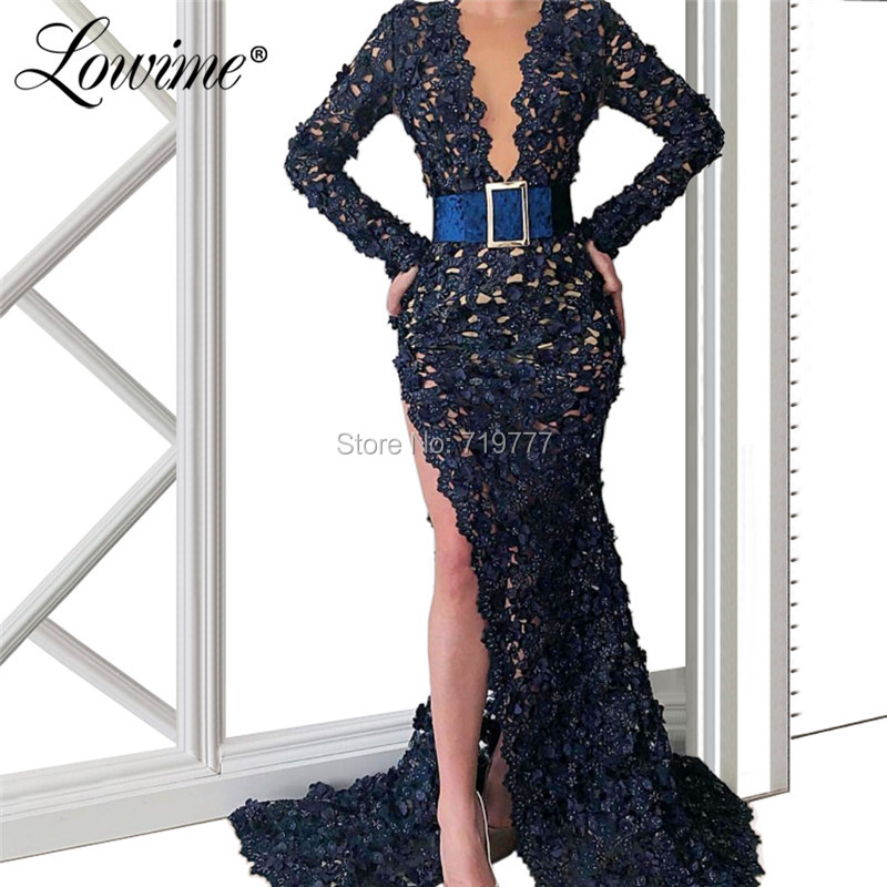 Navy Blue Lace   Evening     Dresses   2019 With High Split Side Hot Sexy Illusion Neckline Prom   Dress   Dubai Saudi Arabic Party Gowns