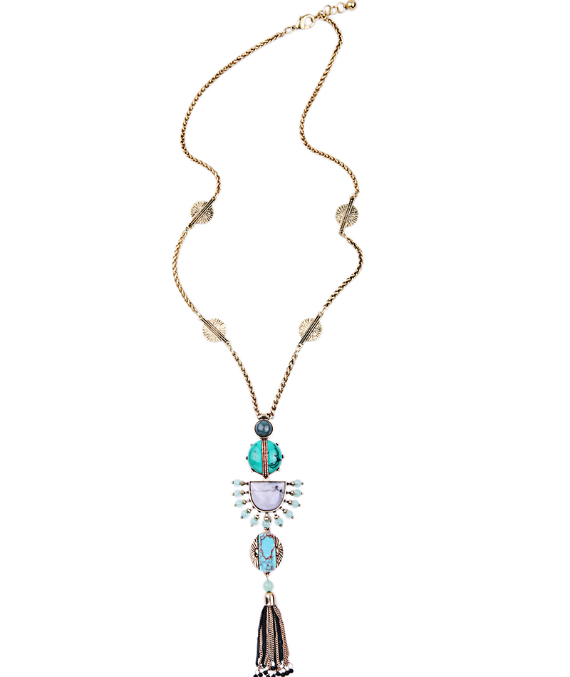 Buy Ethnic Style Long Tassel Necklace Alloy Gold Color Chain Summer Party
