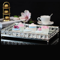 European Plate With Silver Cake Disc Crystal Glass Tray Rectangle Household Tea Tray The Dishes