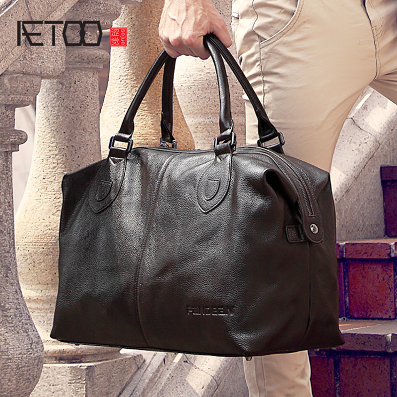 AETOO Male leather travel bag hand held shoulder oblique carrying large capacity travel package business head