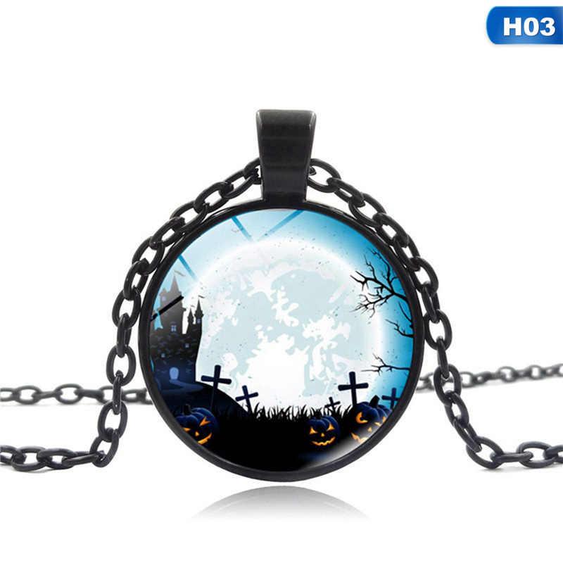 2018 هالوين الزجاج جوهرة قلادة خمر العالم خريطة الوقت حجر قلادة قلادة