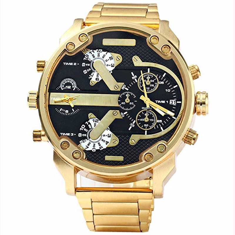 Men Watch Top Brand Military Gold Watches Multiple Time Zones Full Steel Wristwatch Big Dial Luxury Clock Relogio Masculino Saat weide watches men luxury brand multiple time zone compass military sports watch men quartz wristwatch clock relogio masculino