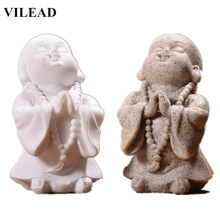 VILEAD Cute Little Monk Figurines Sandstone White Buddha Statuettes Lovely Miniatures for Office Home Decor Creative Gift