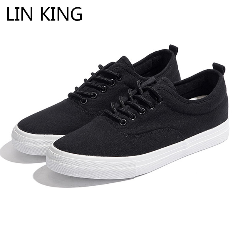 LIN KING New Men's Summer Vulcanize Shoes Black White Man Outdoor Casual  Sneakers Height Increase