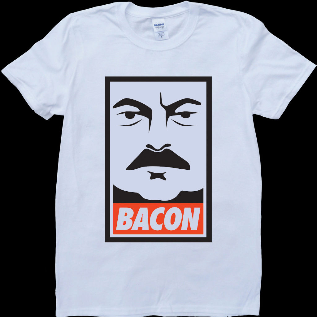 Ron Swanson Parks and Recreation Bacon White, Custom Made T-Shirt