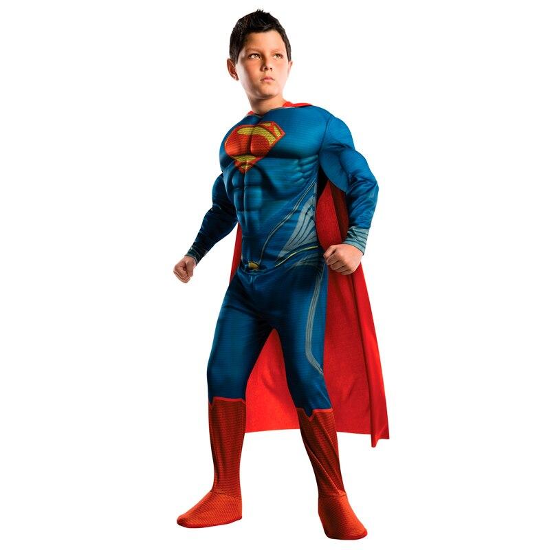 Purim Costumes Kids Deluxe Muscle Halloween Christmas Superman Costume for children boys superhero movie man of steel cosplay