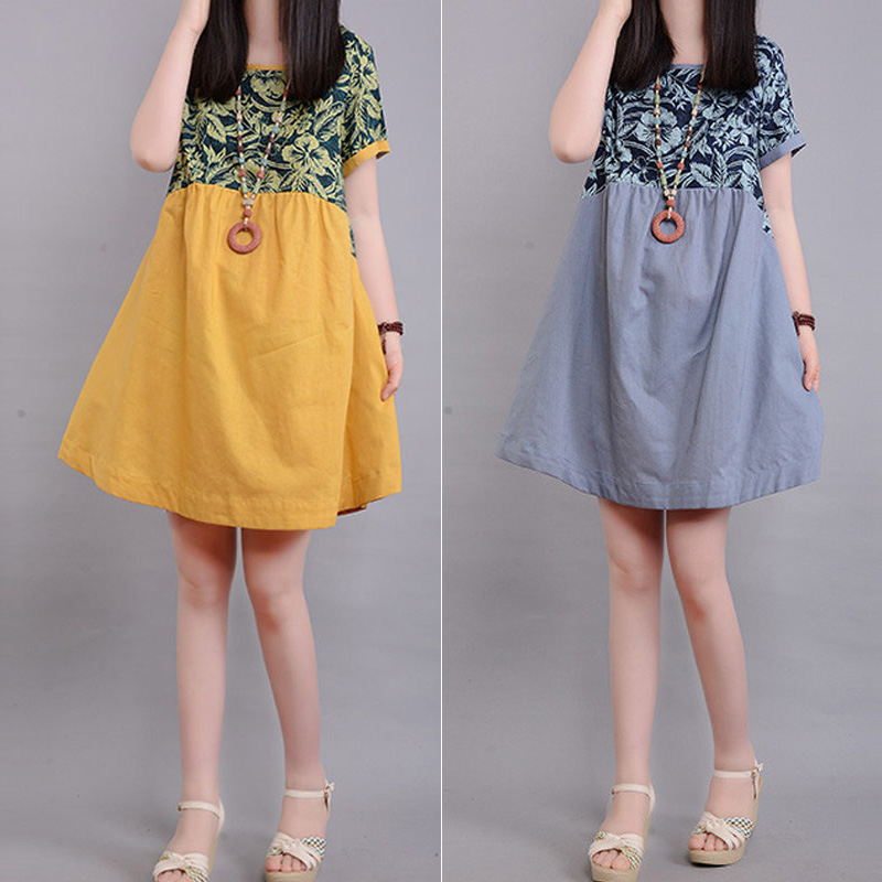 Fashion Flower Printed Dress Splice Color Cotton Hemp Ladies Short Sleeve Loose Casual Dresses Summer Women Clothing FS9