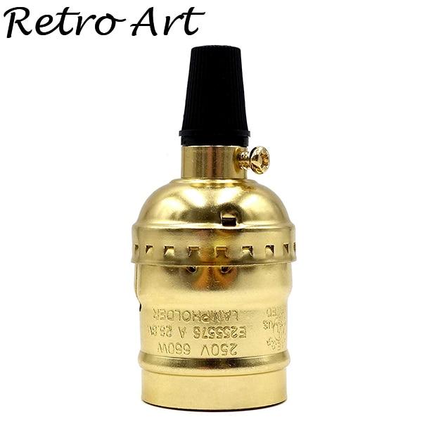 Алюминиевый патрон Эдисона с выключателем E26 E27 винтажный подвесной патрон - Цвет: Golden
